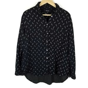 Madewell Oversized Button Up Top Printed 1427